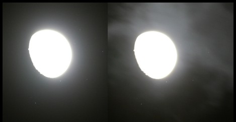 Stereobild M45 und Mond